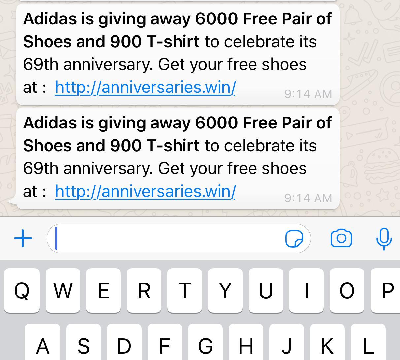 SCAM ALERT: Beware of Adidas scam on WhatsApp