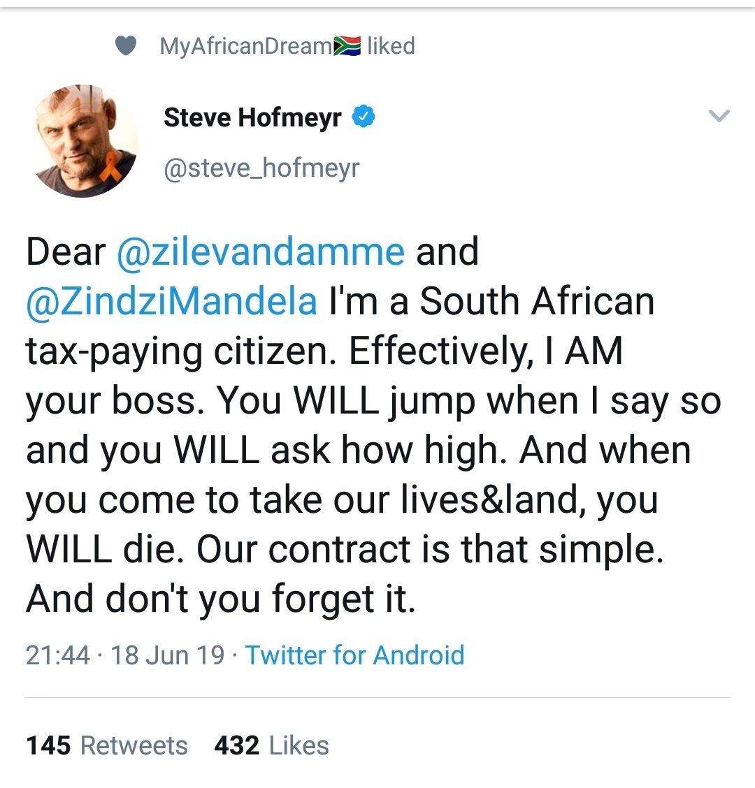 Steve Hofmeyr issues 'death threats' to Zindzi Mandela and Phumzile Van Damme.